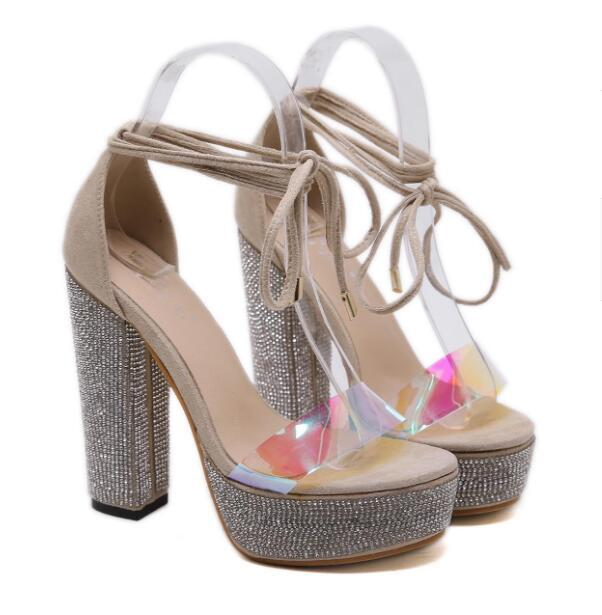 82020 is a new high-end platform for the goddesses to create luxurious beige rhinestone wedding shoes and sandals