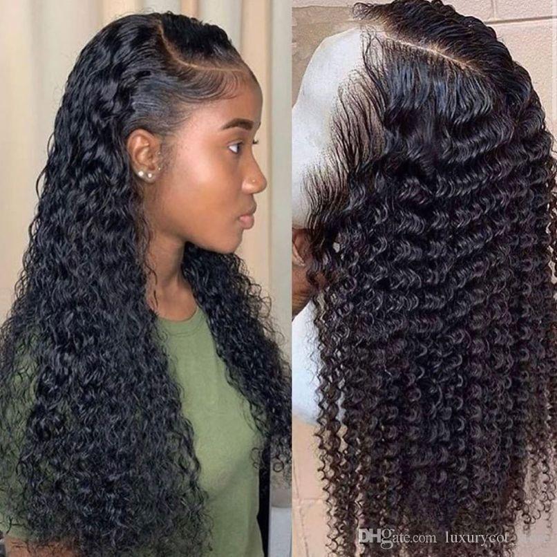 موجة المياه شعر مستعار مجعد الدانتيل الجبهة الإنسان الشعر الباروكات للنساء السود بوب شعر مستعار البرازيلي طويل أمامي عميق الرطب ومائج HD fullg99
