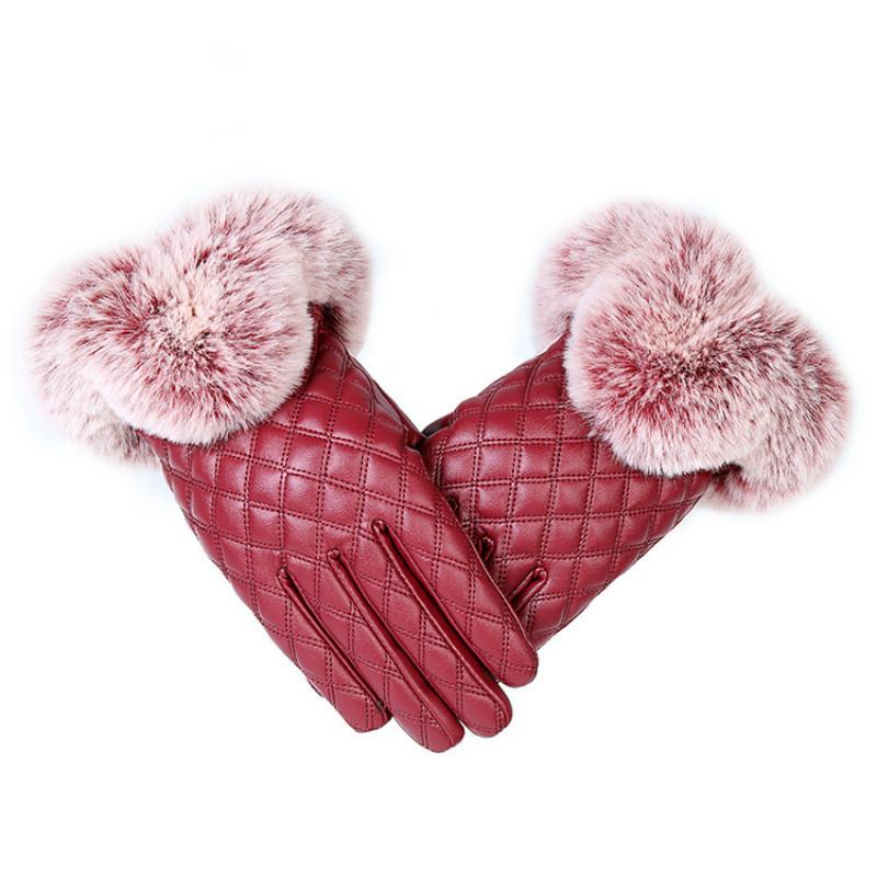 KUYOMENS Fashion Women Warm Thick Winter Gloves Leather Elegant Girls Brand Mittens Free Size With Rabbit Fur Female Gloves D19011005