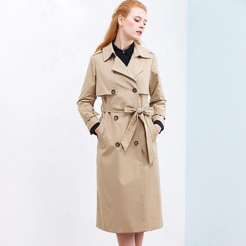 ITOOLIN Khaki Lungo Windbreaker Coat Donne Ufficio Solid cappotto doppiopetto Inverno fascetta trincea di modo Primavera Sashes