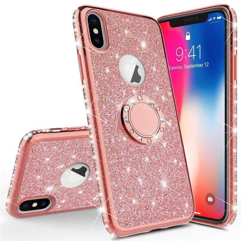 Caixa de brilho para iPhone X 11 Pro Max Luxury Phone Acessórios Móveis Pink Diamond caixa TPU Flash Pó Acrílico Cobertura Com Suporte