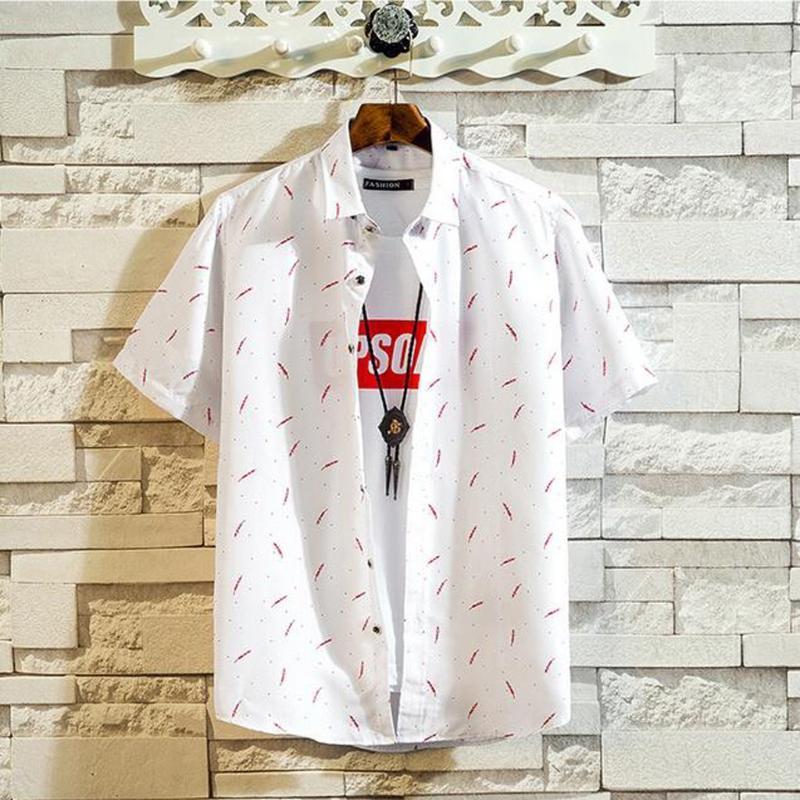 KANCOOLD shirt dos homens Verão Hawaii Impresso emenda Moda Padrão lapela de manga curta camisas soltas Blusa para homens Jun11