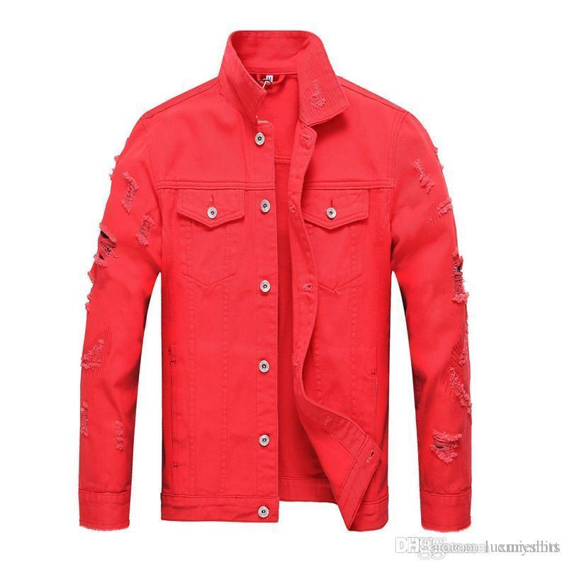 Denim Jackets Autumn Solid Color Street Style Lapel Collar Long Sleeved Slim Jacket Mens Streetwear Designer Mens Hole