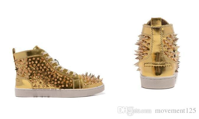 hiht-top, Moda Pik Pik Spikes Glitter de couro Sneaker para mulheres, homens parte inferior vermelha Shoes Fashion Designer Red Sole Casual Walking Box