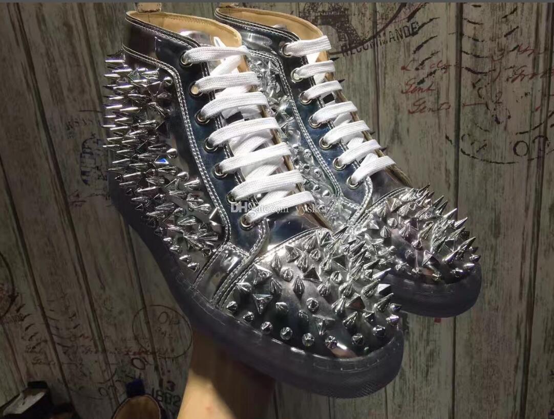 Elegant`Red zapatos inferiores zapatillas de deporte para los hombres, Vestido Pik Pik espigas de color rojo zapatillas de deporte de los zapatos del banquete de boda de fondo de cristal deslumbrante hombres zapatos casuales