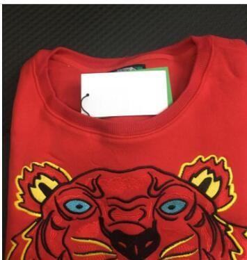 Вышивание головы тигра свитер мужчина качество женщина высокой длинным рукавом O-образным вырезом свитер Hoodies Толстовки прыгун лучшее качество Красный S-XXL