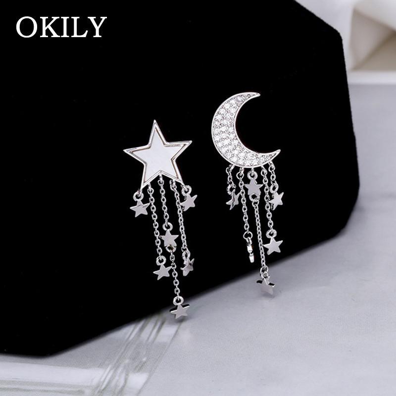 OKILY Luxurious cobre o material clássico Zircon Lua e Shell Estrela Gota Ear Dangle Pentagrama brincos Menina Asymmetric Brinco
