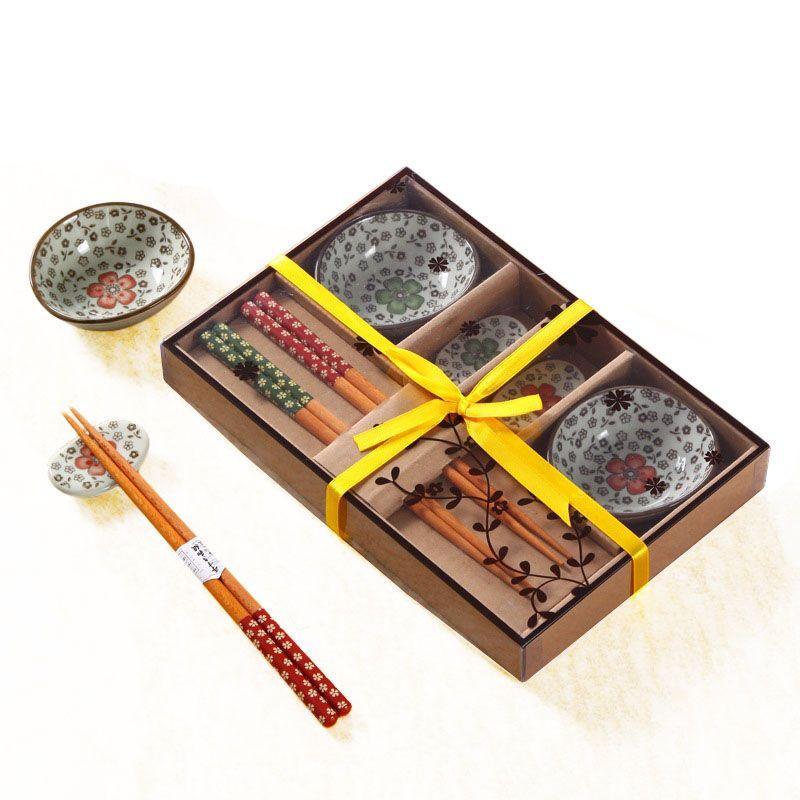 Flor de cerezo japonesa Sushi plato de cerámica Conjunto de soja con platos de salsa de bambú palillos Sushi vajilla para 2 Embalaje persona regalo