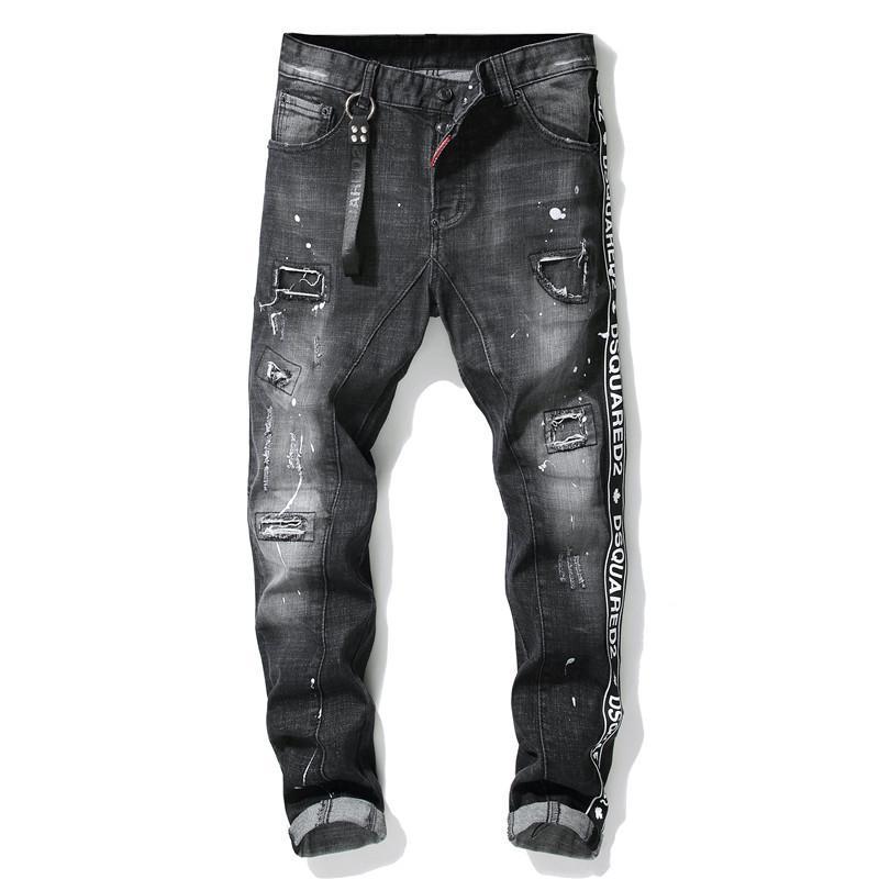 Hommes mode de haute qualité Bas Mâle Mâcher Gratter Trou Patch Peinture Spot Slim Petits Pieds Marée Pantalon International Homme Jeans