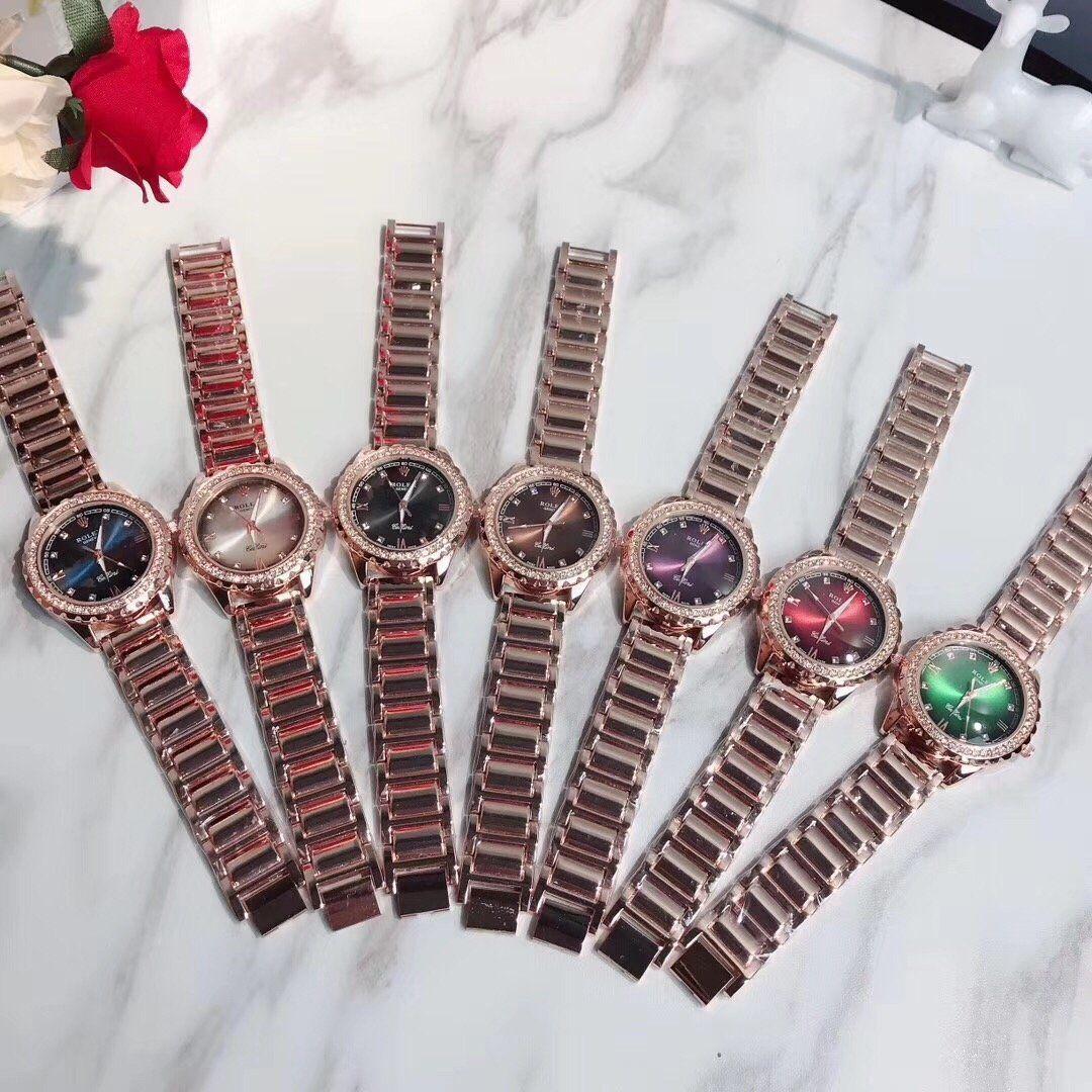 Moda numeri romani di cristallo di vigilanza di affari inossidabile di alta qualità in oro rosa Cinturino multicolore impermeabile Dial Ladies Watch Quartz