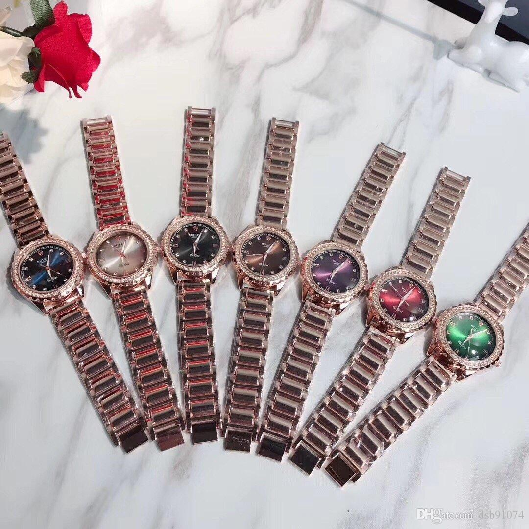 Fashion Roman Numeral Crystal Business Watch High Quality Stainless Steel Rose Gold Strap Waterproof Multicolor Dial Ladies Quartz Watch