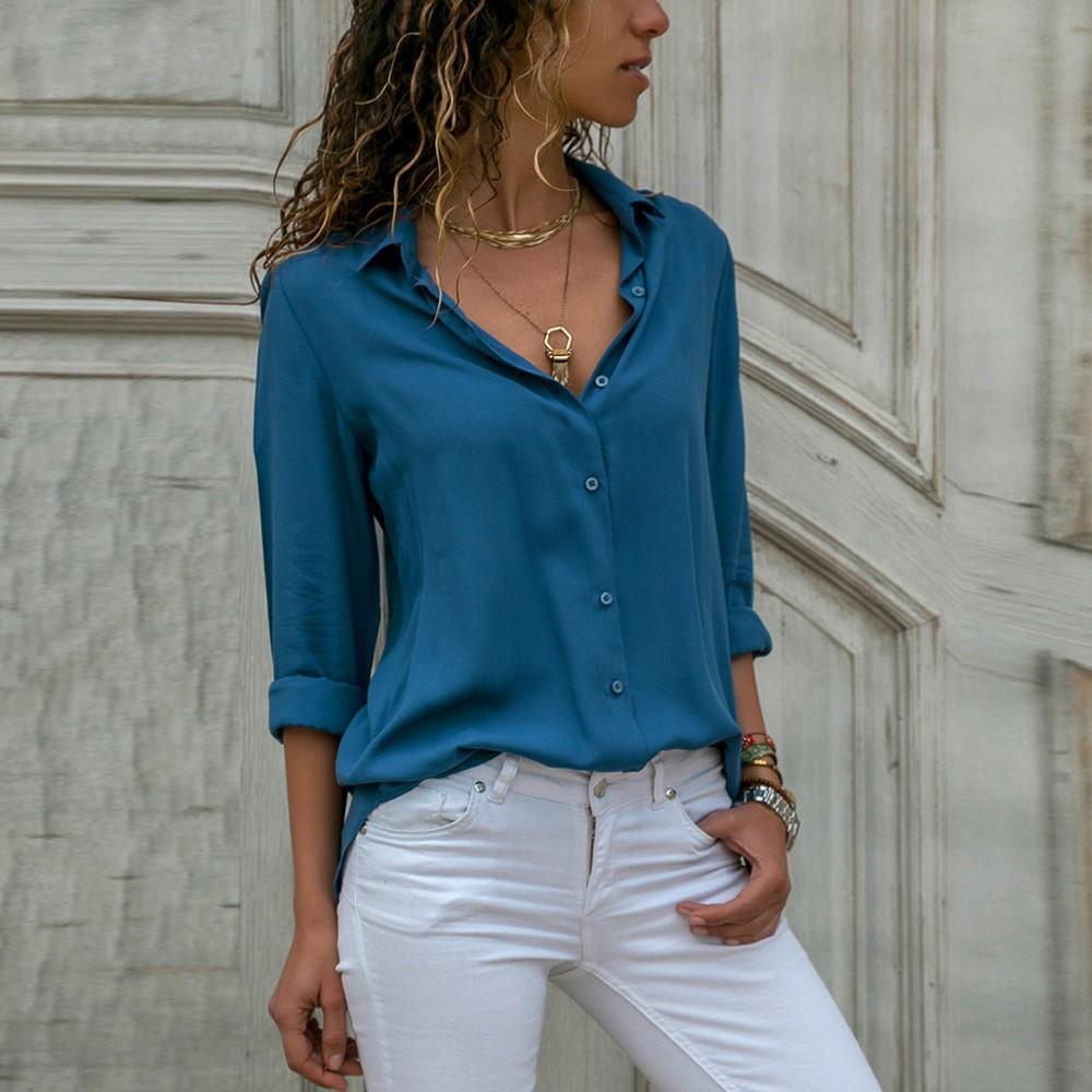 Womens en mousseline de soie à manches longues OL chemises dames décontracté Tops en vrac Blouse Feminina Blousez Chemise Femme blousez damskie