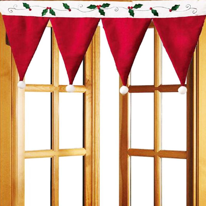 Creative Red Hat Shape Curtain Christmas Decorative Curtains For Window Kitchen Cabinet Door Hanging Decoration Christmas Decorations Accessories Christmas Decorations And Ornaments From Yueji 26 46 Dhgate Com