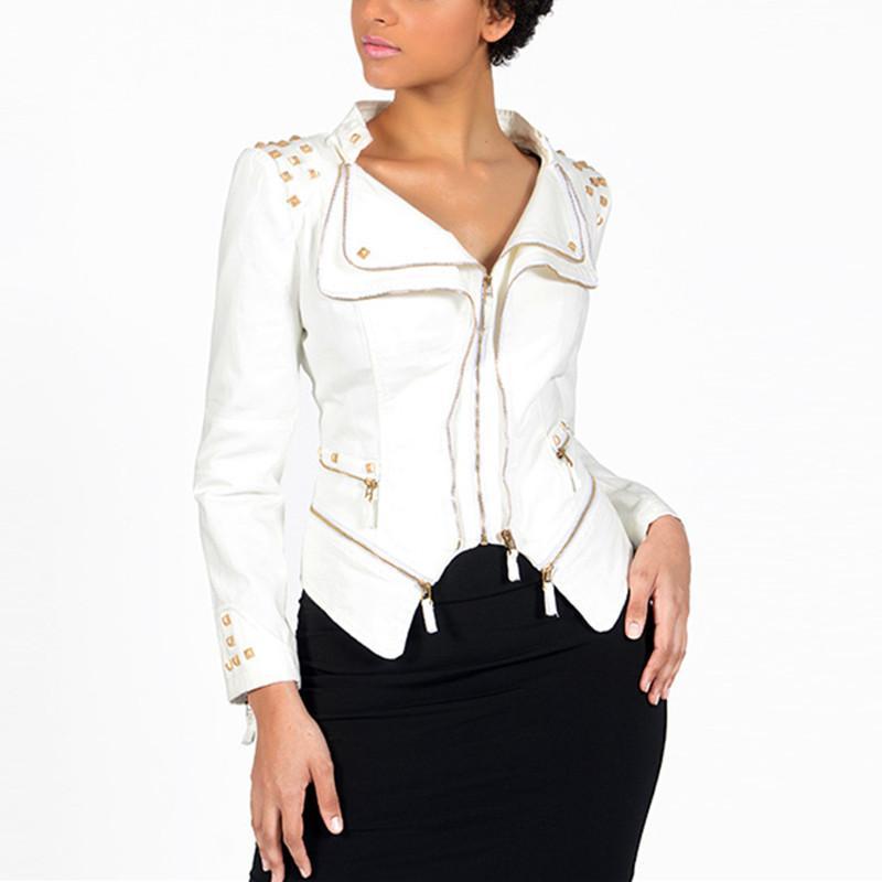 Autumn Vintage Women Slim Denim Jacket Plus Size Biker Jeans Coat Short Casual Zipper Rivet Motorcycle Jeans Jackets