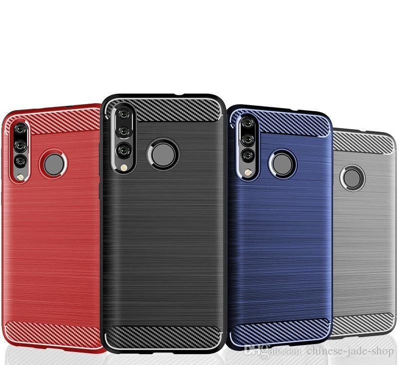 Carbon Fiber Texture Slim Armor Brushed TPU CASE COVER FOR Huawei Nova 4 Honor 9 lite Y7 PRO 2018 Y5 LITE 2018 P SMART 2019 100PCS/