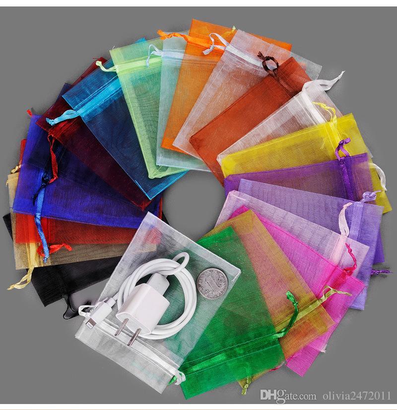 Mezcla de colores Joyero 7 * 9 cm Joyas de organza Anillo Pulseras Bolsas Regalos Bolsas para el anillo Regalos de boda SD1
