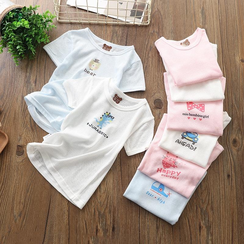 camisa do desgaste de algodão puro verão dos desenhos animados T- roupas infantis T-shirt de mangas curtas bebê infantil para meninos e meninas