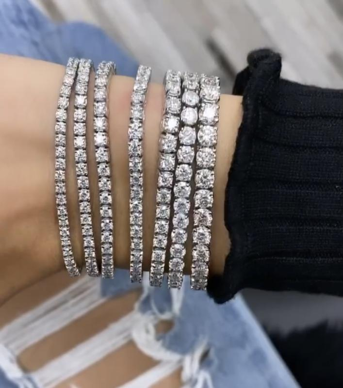 Handmade 925 silver 4-8mm Round Zircon Diamond Bracelets For Women Men Engagement Wedding Topaz gemstone Jewelry 18cm