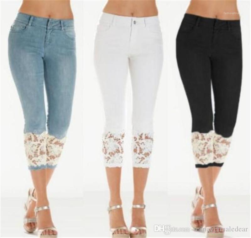 Jeans Skinny Designer Capris Damen Jeans Fashion Solid Farbe Blau Hosen Spitze-dünne Frauen