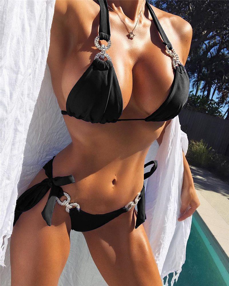 Femmes Bikinis Sexy évider Sets de diamant de mode lambrissé Soutien-gorge taille haute Bikinis Maillots de bain pour femmes