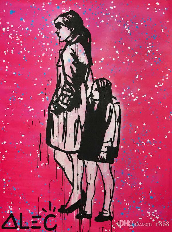 Alec Monopoly Oil Painting On Canvas Graffiti Art Mother And Daughter Home Decor Handpainted &HD Print Wall Art Canvas Pictures 191028