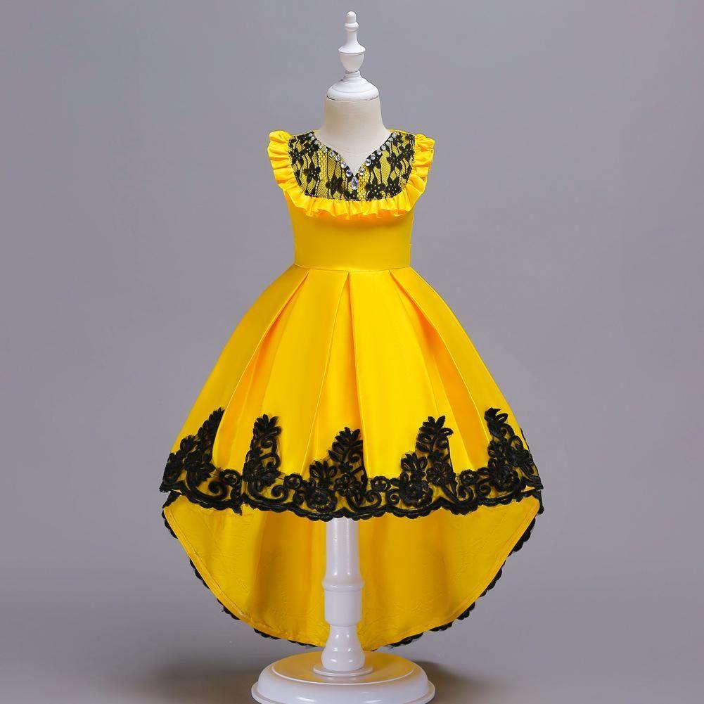 Été Enfants dentelle brodée de fleurs Filles Robe formelles robes fille pour enfants de soirée de mariage Paillettes Robes de bal avec E200275 Tail