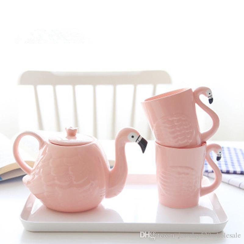 Creative Ceramic 3D Coffeeware Teapot Set Cute Animal Coffee Cup Pink Porcelain Tea Pot Birthday Gift Decoration