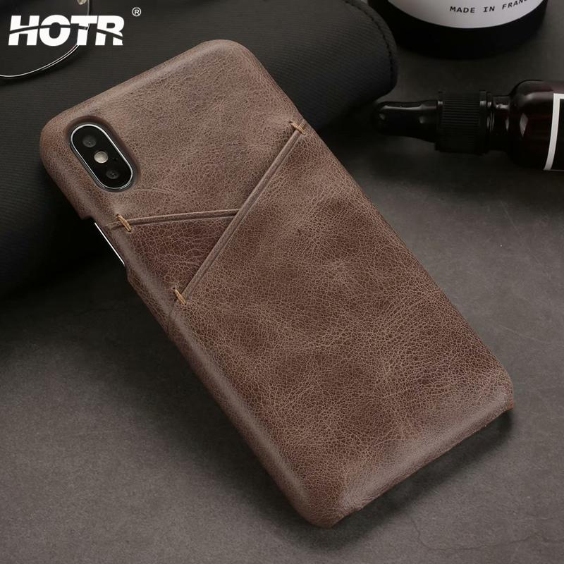 Genuine Leather Back Case for iphone X XS XR XS Max for iphone 6 6s 7 8 plus Real Leather Cover Shockproof Card Insert Bag Case
