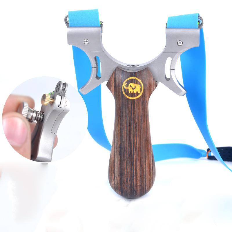 야외 정밀 Slingshot 사냥 투석기 나무 손잡이 스테인레스 스틸 헤드 슬링 샷 플랫 고무 밴드와 촬영