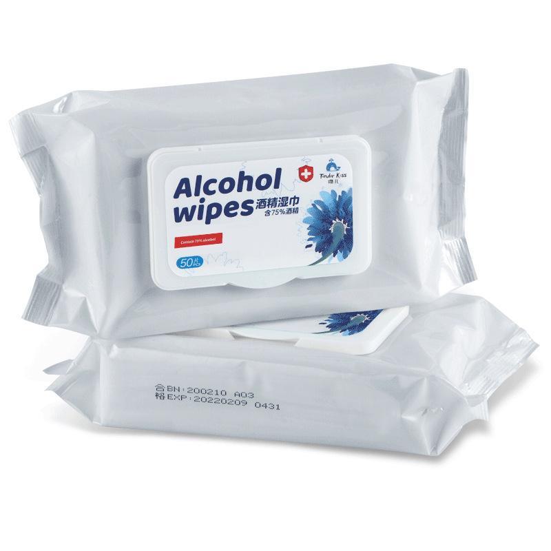 Dipe desinfección Desinfección Una vez 75% algodón con alcohol Manos Piel juguete limpio antiséptico toallitas con alcohol algodón Flakes 200 * 150 mm 50pcs / pack