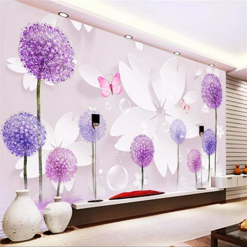 Пользовательские обои 3d большой Papel de parede фреска романтический одуванчик 3D гостиная спальня ТВ фон стены papel de parede