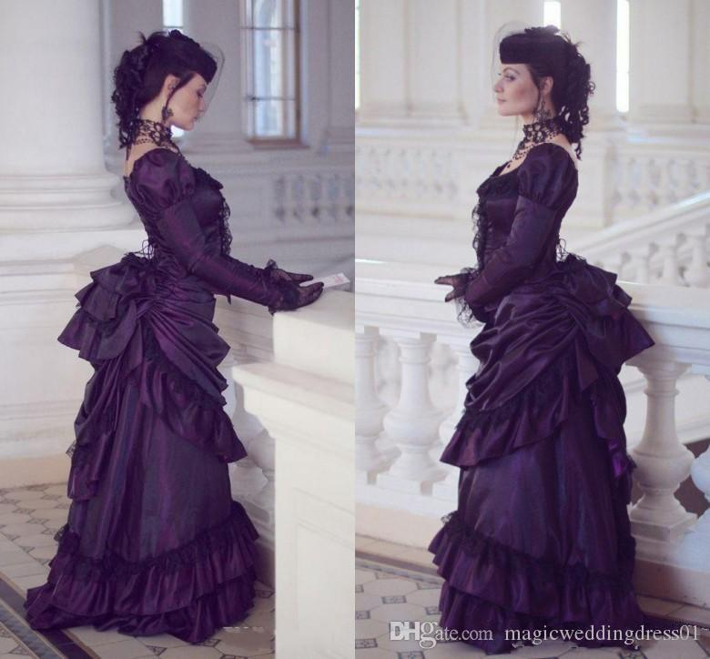 Victorian Gothic Purple Wedding Dresses Retro Royal House Ball Duchess Wedding Gowns Long Sleeves Lace Ruched Renaissance Aristocracy Dress