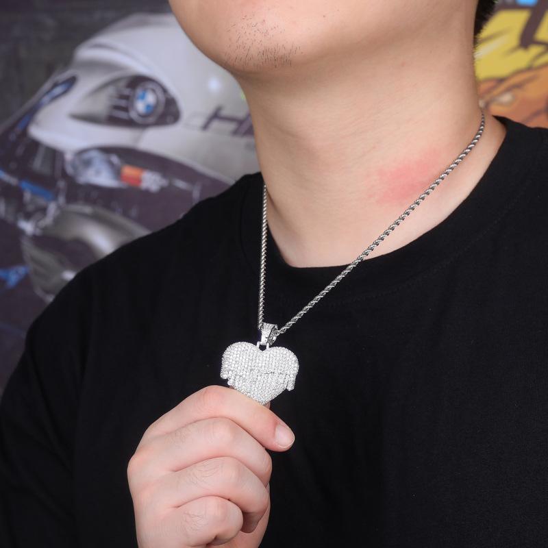 Fashion-Bling monili delle catene uomini fuori Pendant ghiacciato di design di lusso del cuore della collana dei pendenti del diamante di Bling di modo di amore fascino Oro Argento Rosa