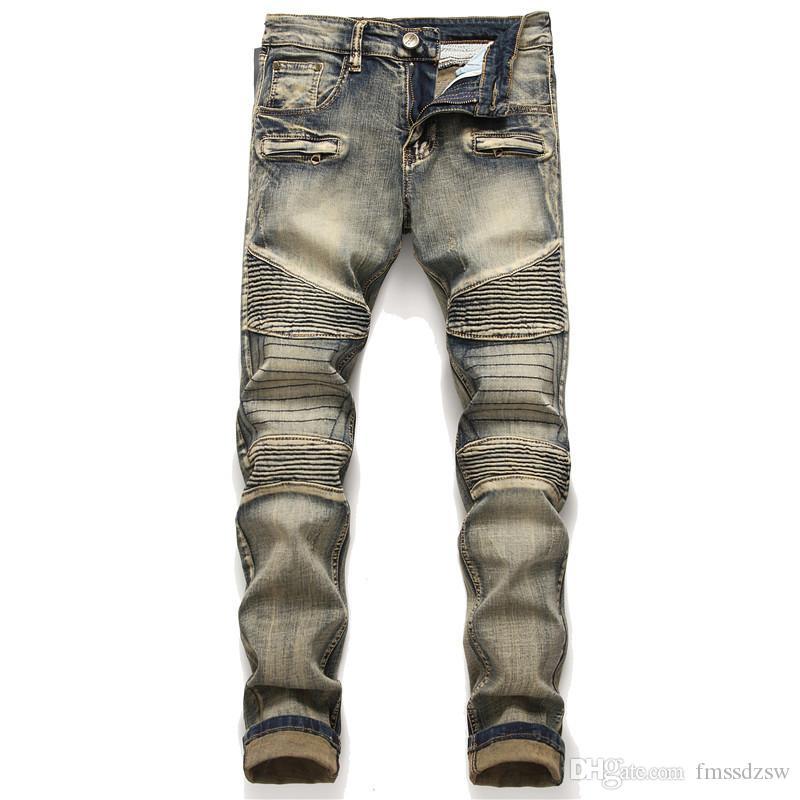 Оригинальный дизайн ретро синий шить морщин мужские маленькие прямые стрейч локомотив джинсы