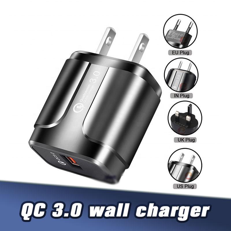5V 3A QC3.0 rapide Chargeur UE US Universal Plug charge rapide Adaptateur Chargeur pour Samsung S8 Note8 IP11 Pro Max 8P