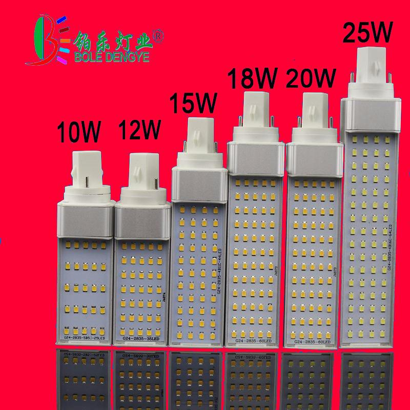 Bombilla 10W 12W 15W 18W 20W G24 LED G23 E27 iluminación de bombilla Bombilas Light Reemplazar la lámpara fluorescente de 180 grados Horizontal Plug Light