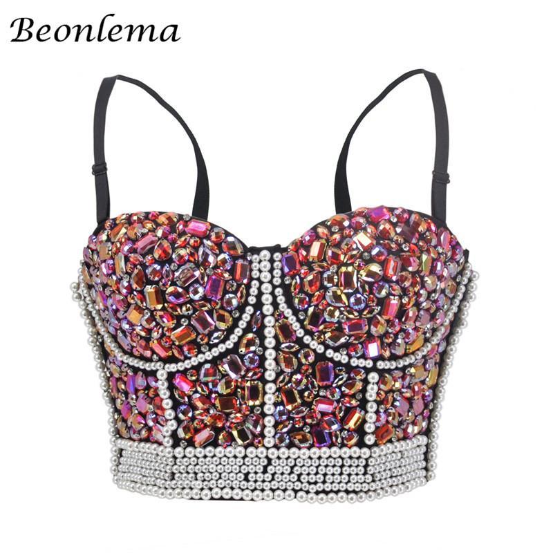 Beonlema Steampunk Corset Top Women Sexy Bra Top Bustiers Overbust Korse Pink Rhinestone Sweet Punk Rave Clothes S-2XL