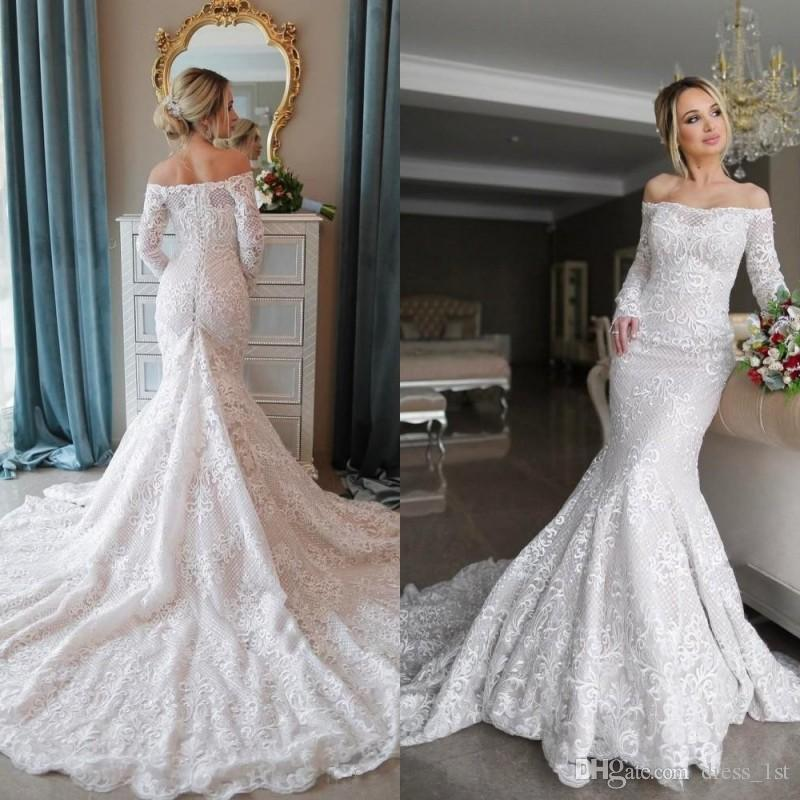 2019 Luxury Lace Wedding Dresses Long Sleeve Mermaid Off The Shoulder Neckline Fit and Flare Chapel Train Bridal Gowns Reception Dress