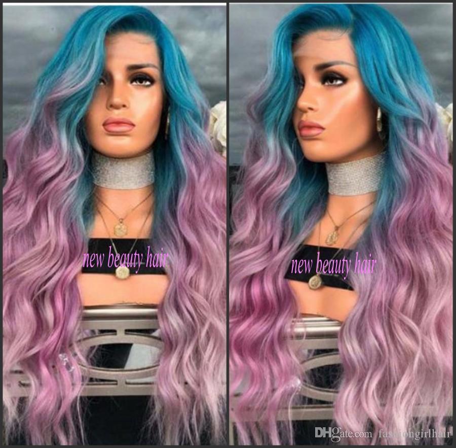 Новая мода Peruca Cabelo Глубокая Длинная Объемная Волна Парики Волос знаменитости стиль синий Ombre розовый фиолетовый Синтетический Парик Фронта Шнурка Для Женщин