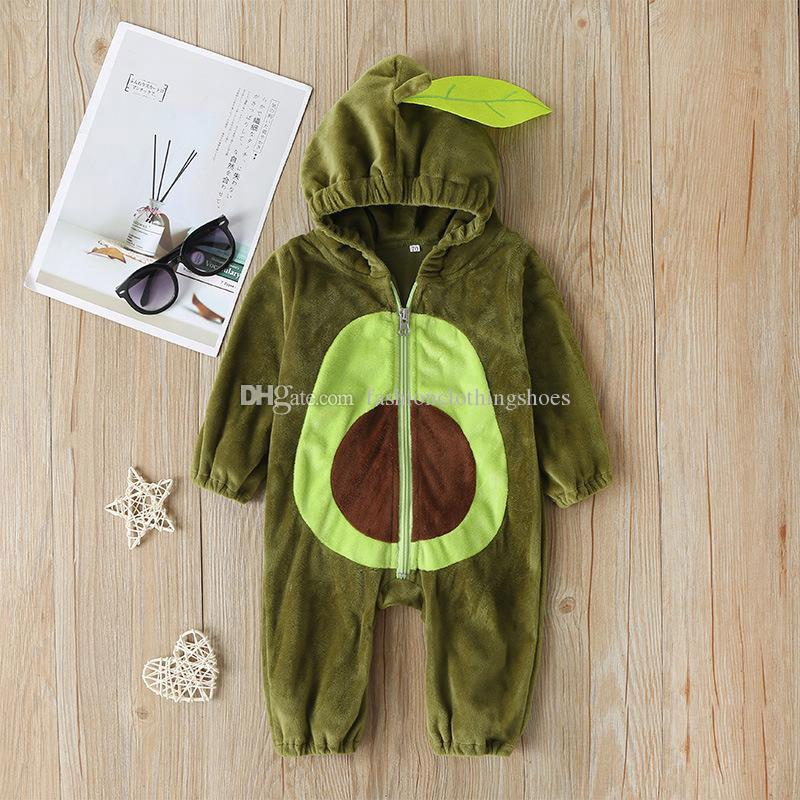 Baby Kids Warm Clothes Zippered Avocado Romper Jumpsuit Overall Outfits