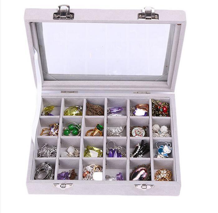 НОВЫЙ 24 Сетка Velvet Jewelry Box Кольцо Серьга Ожерелье Косметика Holder 8шт Дело Организатор Женщина Украшение для хранения