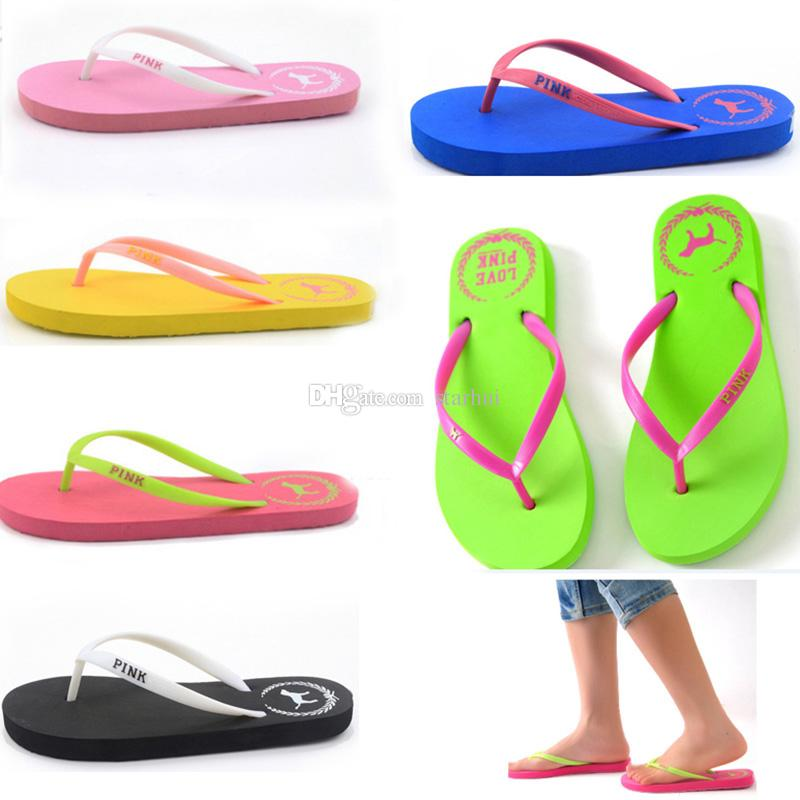 Pools Love Pink Flip Flops Candy Colors Beach Pools Slippers Shoes For Women Casual PVC Home Bathroom Sandals home shoes WX9-1222