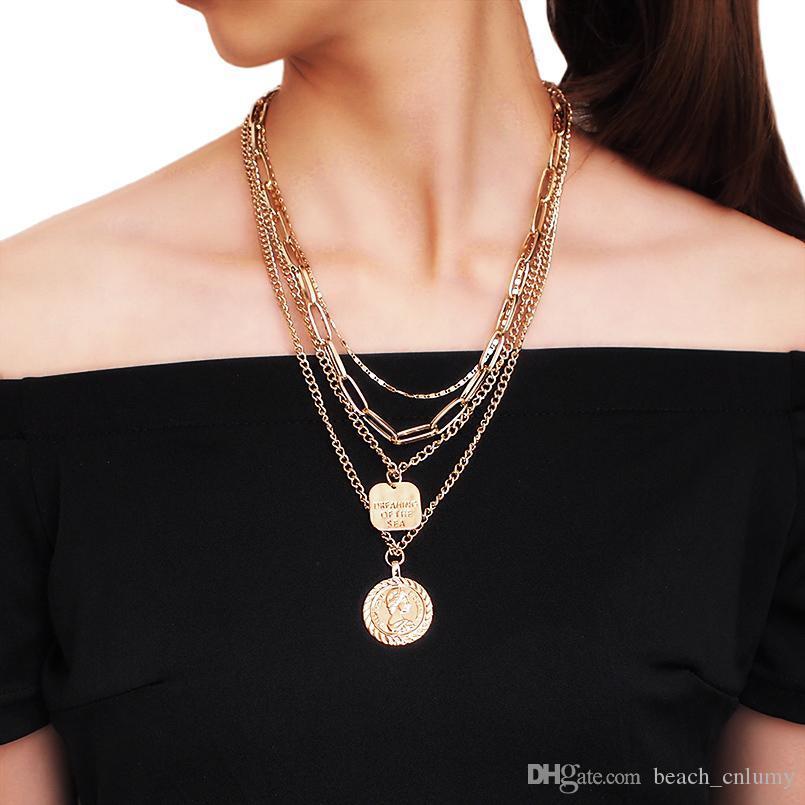 Çok Katmanlı Uzun Zincirli gerdanlık kolye için Kadınlar Vintage Para kolye kolye Altın Renk Parti Nişan Bildirimi Takı Hediye