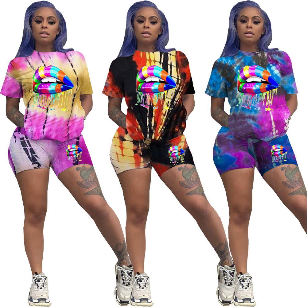 Labios Olivekwok Mujeres Tie Dye Imprimir de dos piezas de manga corta T-Tops Pantalones cortos del basculador del juego de pantalones del chándal juego el sistema Outfit