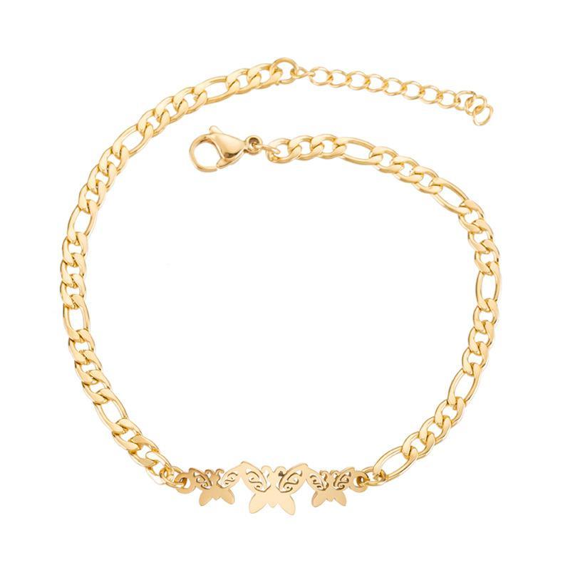Margaritas Joyería Minimalista Oro Cadena de Acero Inoxidable Pulseras de Mariposa para Mujeres Bijoux Brazaletes Brazalete Accesorios para Banquetes Regalos