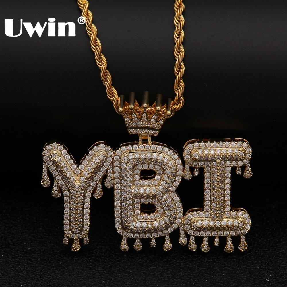 Uwin Crown Initial Letter Pendant Necklace Customzie Bubble Initial Letters Gold Silver Rose Gold Color Words Name Oem Link J190616