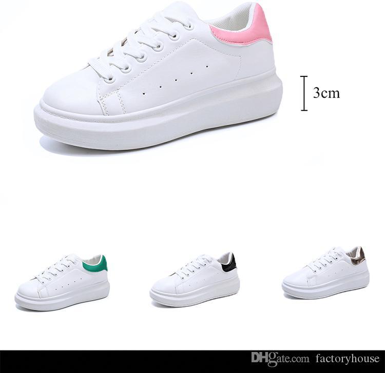 Box olmadan Tasarımcı Kadınlar Sneakers Ayakkabı Ucuz En Üst Kalite Moda Beyaz Deri Platform Ayakkabı Düz Casual Parti Düğün Ayakkabı