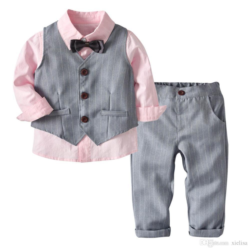 4PC del bambino neonato Bowtie Gentleman T-shirt Vest Neonato appena nato vestiti pantaloni abito da sposa in panno set di moda i vestiti del capretto