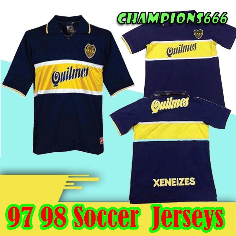1997 1998 maillots de football rétro Boca Juniors 97 98 GAGO TEVEZ CARDONA BENEDETTO maillot de football Boca Junior PAVON camisetas de futbol