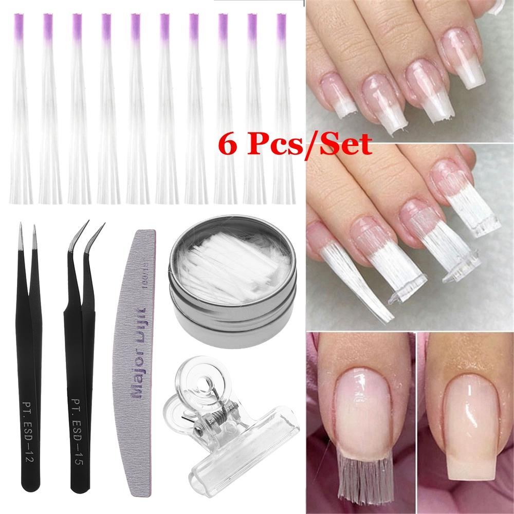 1 Set Fibernails Fiberglass for Nail Extension Acrylic Tips Manicure Salon Tool Set With Pinching Clips Tweezers DIY Tool Kit